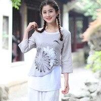 2016 New Chinese Style Women Vintage Blouse Female Cotton Linen Shirt Spring Autumn Print Flower Tops