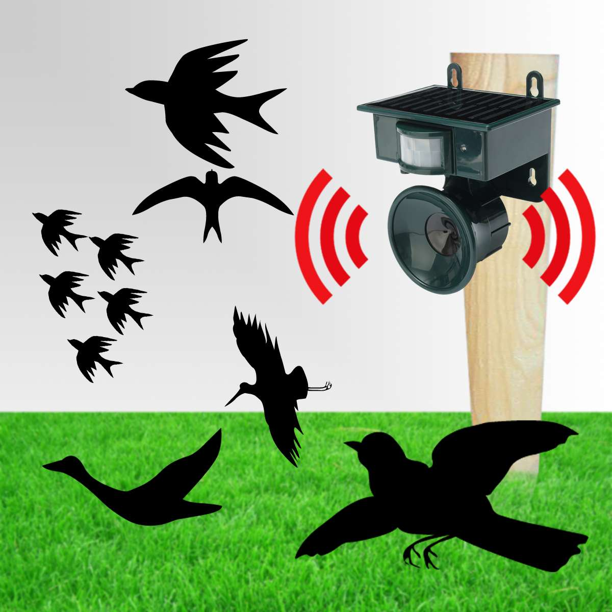 Solar Powered Ultrasonic Bird Repeller PIR Motion Sensor Animal Repellent Bird Pest for Home and Garden Protection-in Repellents from Home & Garden