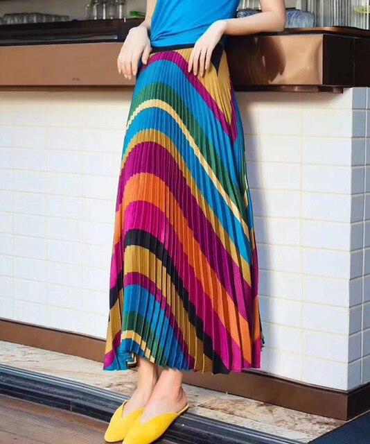 2020 Spring New Fashion Europen Cartoon Print Elasticity Stain Pleated skirt High Street Style A line Mid Calf Skirt Femile