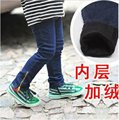 Горячие зимние 2-6yrs девочки Добавить шерсть джинсы толстые теплые детские jeanskids брюки Бесплатная доставка