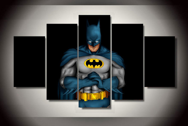 5 Pcs/Set Framed HD Printed Comics Batman Movie Arts For Kid Room Wall Art Canvas Print Poster Canvas Pictures Painting
