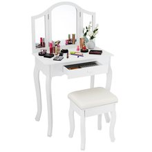Black / White Vanity Makeup Dressing Table with Tri Folding Mirror Big Jewelry Drawer Makeup Vanity Women Bedroom Dresser Set(China)