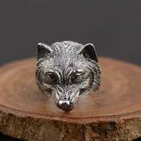 FNJ 925 Silver Wolf Dog Ring Fashion Punk Animal Head Real S925 Sterling Thai Silver Rings