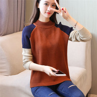 And Winter Women S Korean Version Of The Shoulder Length Long Sleeved Knitting Color Matching
