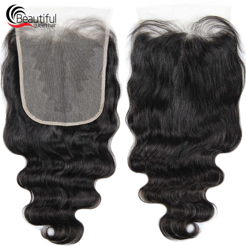 Beautiful Queen Peruvian Human Hair 10A 7x7 TRANSPARENT Lace Closure Body Wave Natural Color Free Part Pre Plucked Virgin Hair