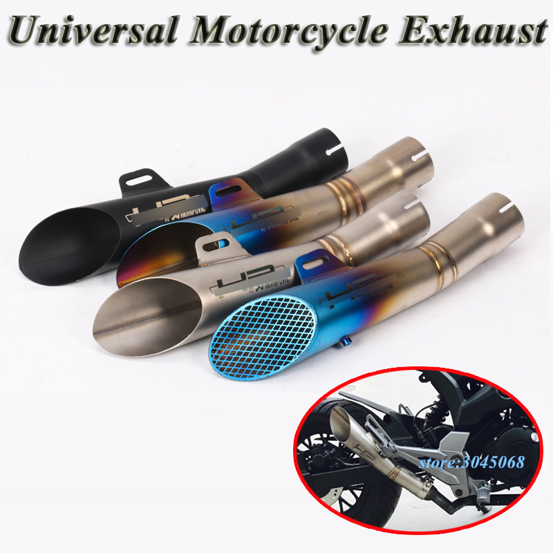 Universal Motorcycle HP <font><b>Exhaust</b></font> Pipe Escape Scooter GP Muffler DB Killer For KTM 390 <font><b>R3</b></font> R6 MT03 Ninja 250 Slip-on Moto Dirt Bike image