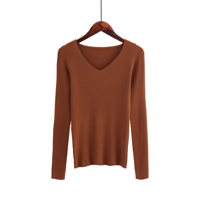 Autumn V Neck Sweater Knitted Fashion Womens Sweaters 2019 Winter Tops For Women Pullover Jumper Pull Femme Hiver Truien Dames 4
