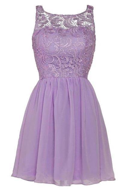 Sheer Neckline C Black Purple Silver Lace Short Bridesmaid Dresses Elegant Chiffon Wedding Party