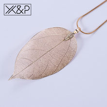 X&P Creative Vintage Ethnic Metal Plant Pendant Necklaces for Women Men Fashion Rose Gold Leaf Rope Chain Necklace Jewelry Gift(China)