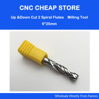 1pc AAA 6X25mm UP DOWN Cut Two Flutes Spiral Carbide Mill Tool Cutters For CNC Router