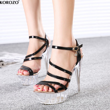 2017 Gladiator Women Strappy Sandals Black White Wedge Stripper Shoes Sexy High Clear Heels Platform Jelly Transparent Pumps