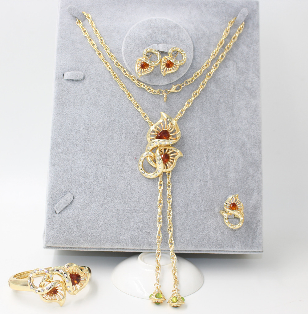2015 new design high quality 18 K gold plated necklace jewelry sets ...