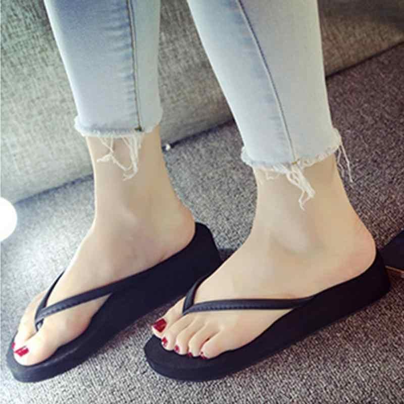 2017 Women Causal Flip Flops Home Beach Summer Non-slip Leisure Slippers  Lovers Sandals Black be43fe7d619d