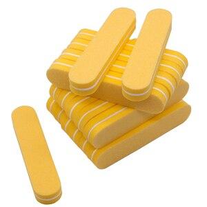 Image 4 - Mini tampons à ongles de couleurs mélangées, jetables, lot en éponge, outil de manucure, ponçage, polissage, brillant, lot de 100 pièces