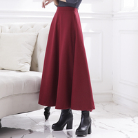 2018 New Fashion Long Thick A line Skirts For Women Elastic Waist Winter Woolen Skirts Warm With Pocket Free Shipping