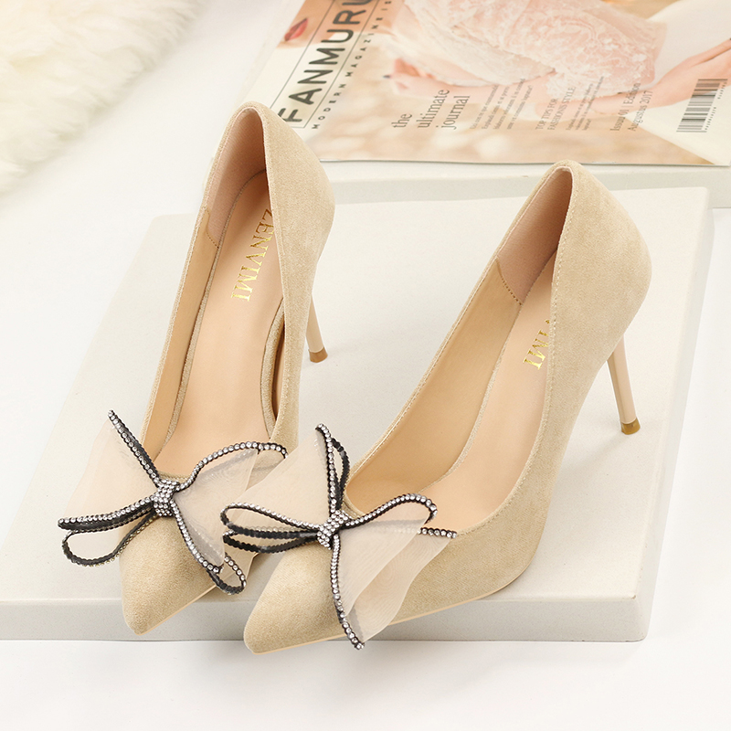 Ladies Shoes Stiletto Women Pumps Pointed-Toe High-Heels Fashion Bow White Solid Sexy