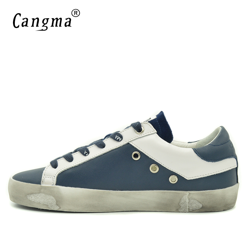 Image 4 - CANGMA British Brand Shoes Men Sneakers Vintage Navy Blue Man  Shoes Leather Genuine Male Shoe Adult Casual Latest Footwear 2017Mens  Vulcanize Shoes