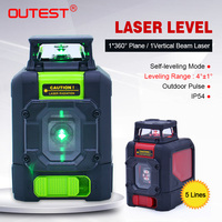 OUTEST Laser Level meter 901C groen/rood Beam 5 lijnen zelfnivellerende 1*360 Vliegtuig/1 verticale Beam 3D laser Leveler Kruislijnlaser