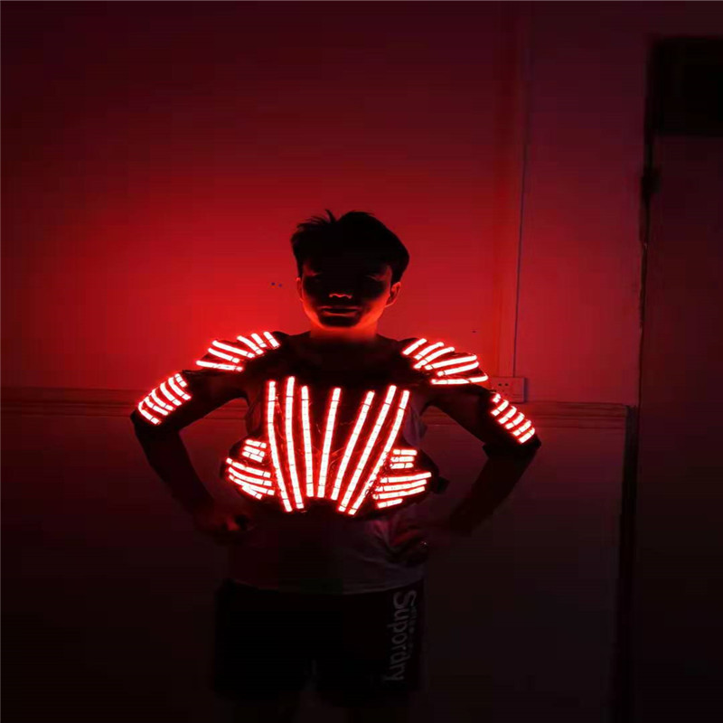 P84 Party RGB colorful led light costumes dj performance robot men suit glowing outfit disco wears led vest jacket armor clothes