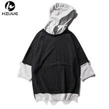 HZIJUE 2017 verano sudaderas con capucha hombres camiseta hip hop largo  swag patchwork High street moda diseño con tapa bolsillo. e9e9456ad89