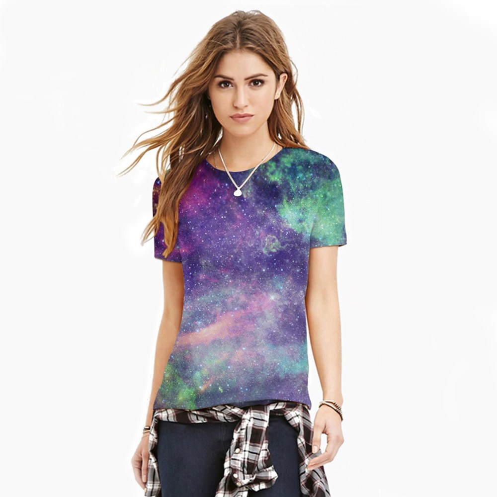 HTB1.LflQXXXXXXWaFXXq6xXFXXXN - T-shirt blue sky digital print 3D short-sleeved women's shirt