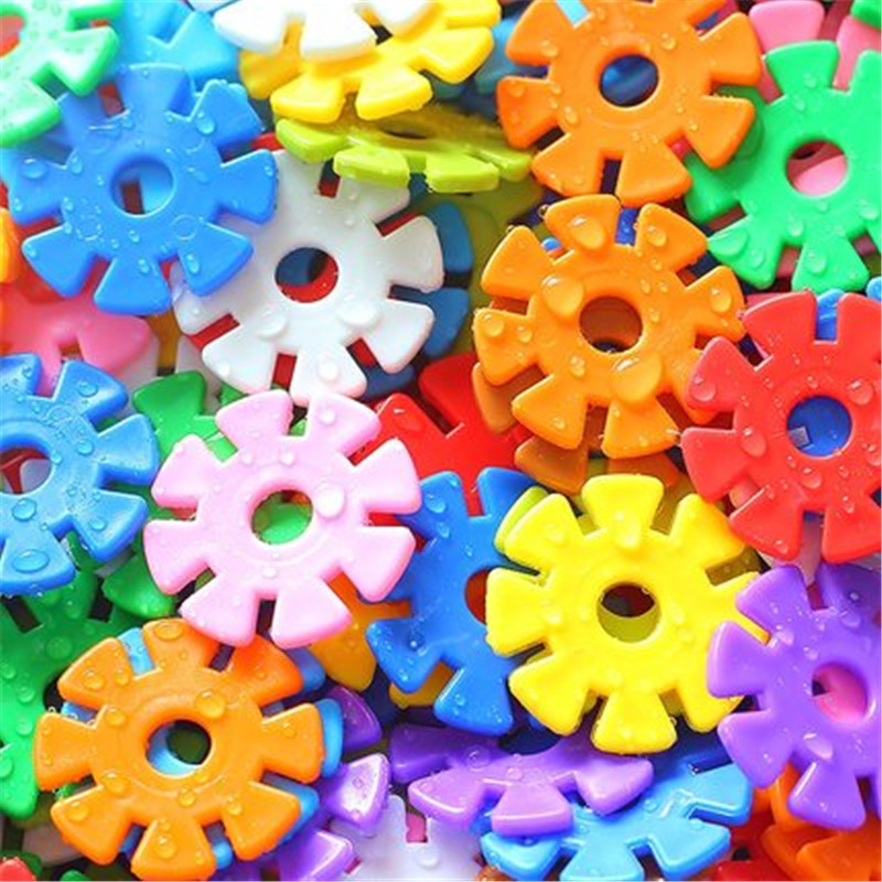 80pcs Children Funny Snowflake Puzzle Model Building Kit Diy Assembling Classic Toys Montessor Intelligence Toys For Kid