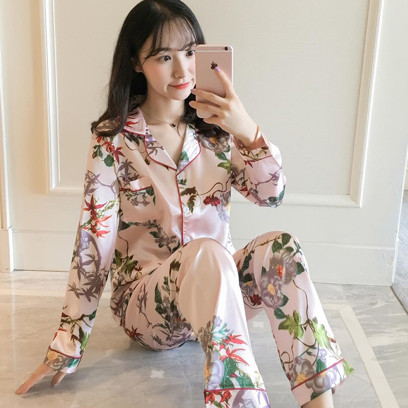 Women Pajamas Satin Sleepwear Pijama Home Wear Silk Pyjama Home Suit Flower Print Sweet Cute Home Clothing Sleep Lounge Plus