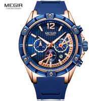 男性のスポーツ Army クォーツ腕時計ブルーシリコーンストラップクロノグラフ発光 Relogios Masculinos 時計防水 MN2083-2N0
