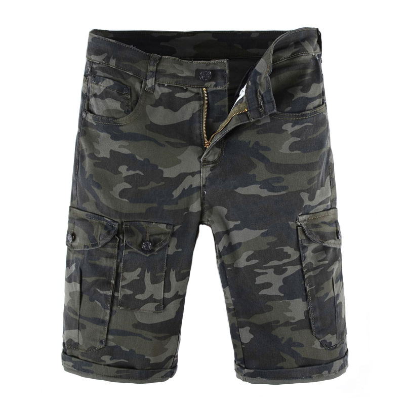 Summer Fashion Camouflage Green Mens Jeans Shorts Big Pocket Army Pants Military Cargo Shorts Men Classical Short Jeans Homme