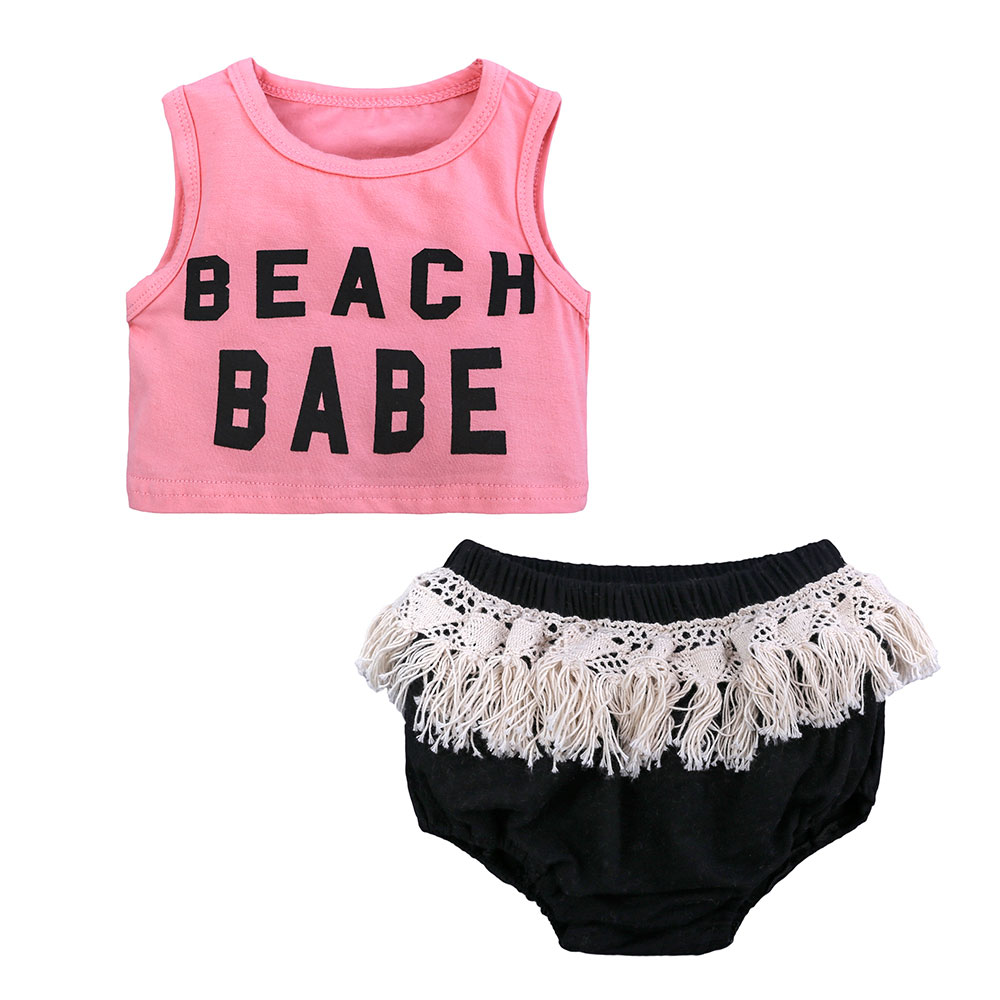 Fashion Baby Girls Suits,Cotton Newborn Girl Clothing Sets,New Cute Letter Print Sleeveless Tops+Tassel Short Pants Kids Clothes