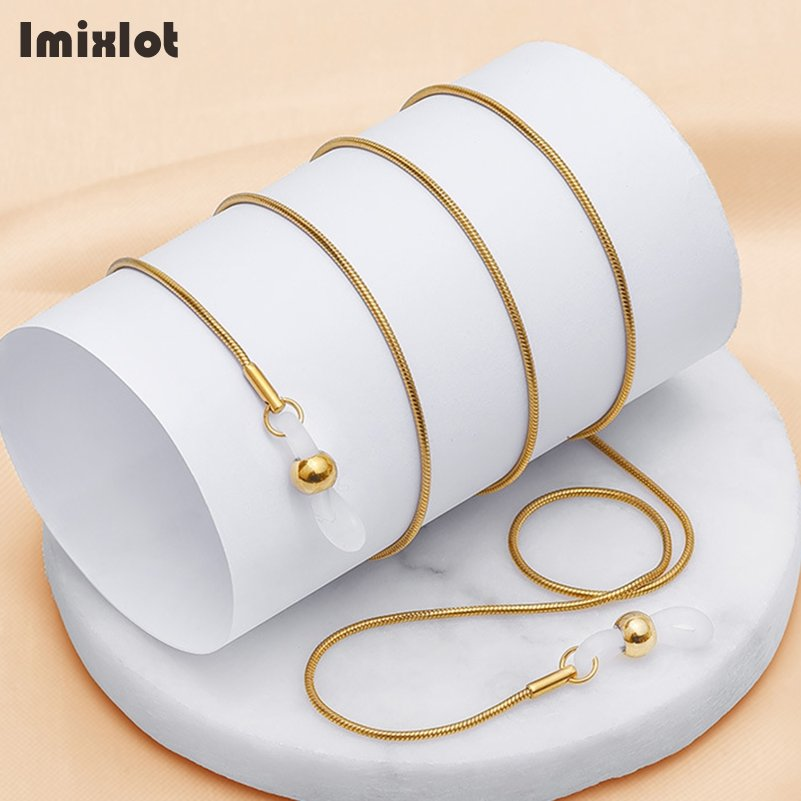 Imixlot Stainless Steel String Eyeglasses Reading Glasses Chain Metal Cords Sunglasses Spectacles Holders Optical Frames Rope