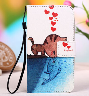 Fashion Cartoon Flip Leather Cover Cases For Alcatel One Touch pixi3 ( 5.0 ) Mobile Phone Case With Stand Function Card Slot