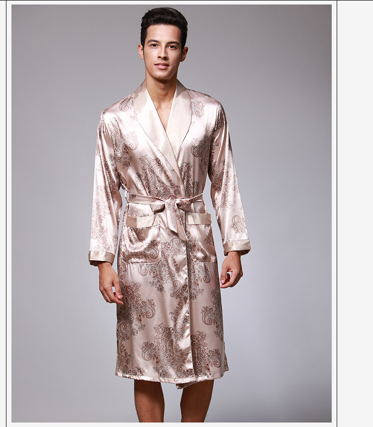 Men Black Print Robe Spring Kimono Bathrobe Gown Satin Robes Long ... 12177022c