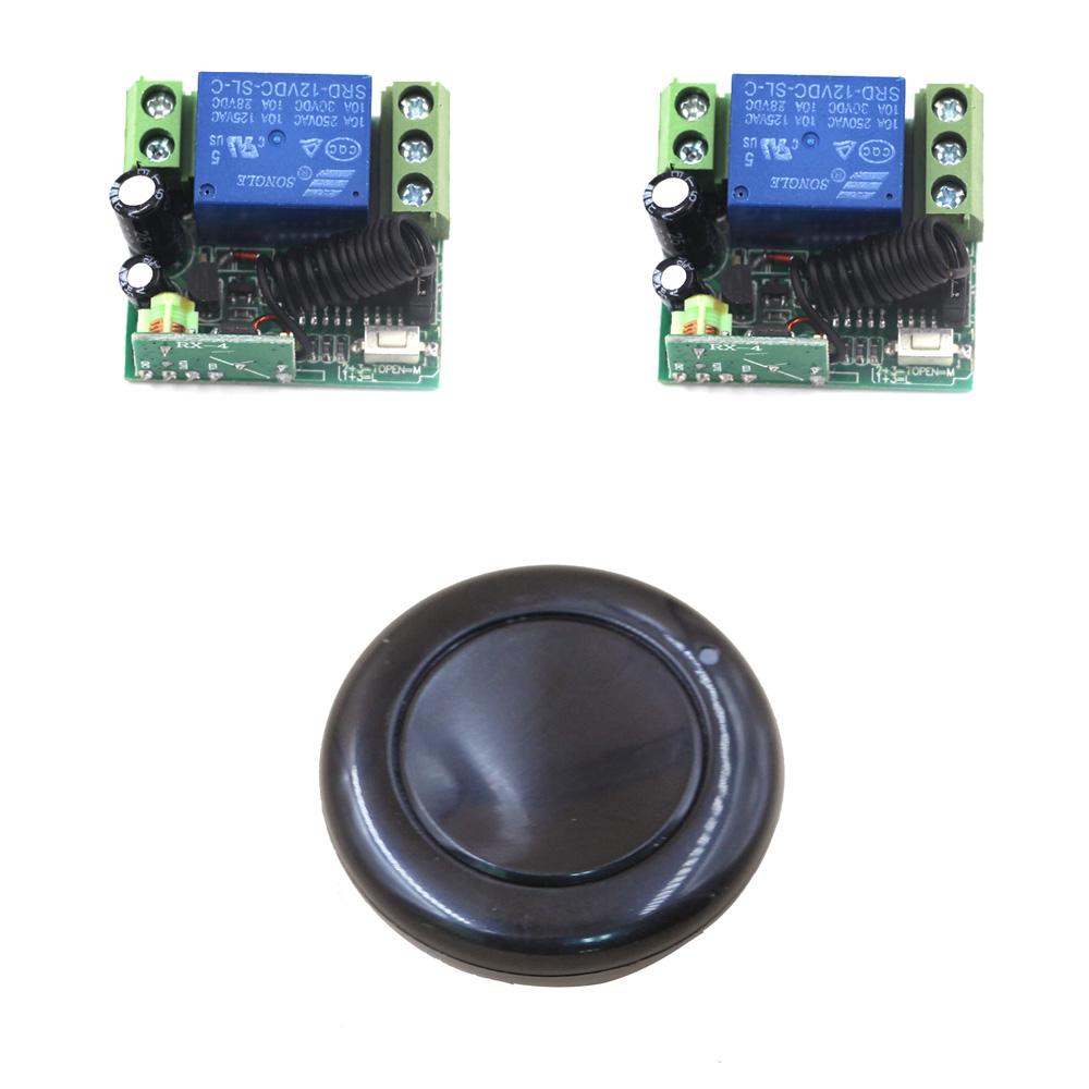 New 12V 1CH Wireless Remote Control Switch System 1 Round Transmitter & 2 Receiver Relay Smart House 315/433MHZ Free Shipping new design wireless ac220v remote control switch with manual button receiver for smart home 315 433mhz free shipping