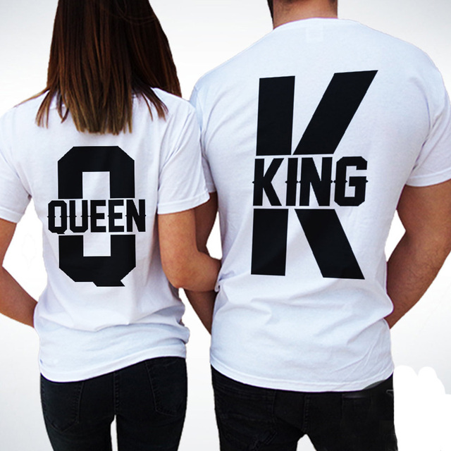 2f0d8163d Short Sleeve T Shirts Women Men 2018 Summer New Tops King Queen Casual  Loose Couple Clothes White Matching Lovers Unisex T-shirt