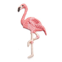 Ahyoniex-petit Patch flamant rose pour vêtements, broderie oiseau rose, pas cher