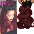 Ombre 1b 99j Hair Body Wave 4pcs lot, Black And Burgundy Brazilian Hair Two Tone 99j Brazilian Hair Red Human Hair Extensions