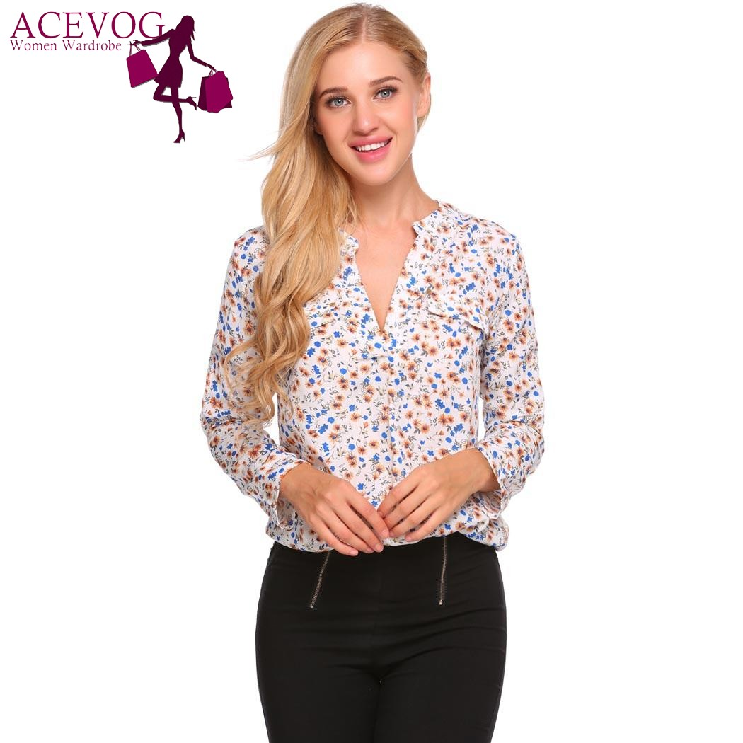 ACEVOG Autumn Long Sleeve Floral Print Blouse Shirt Women Retro Loose V-Neck Vintage Chiffon Blouse Ladies Shirts Female Blauses
