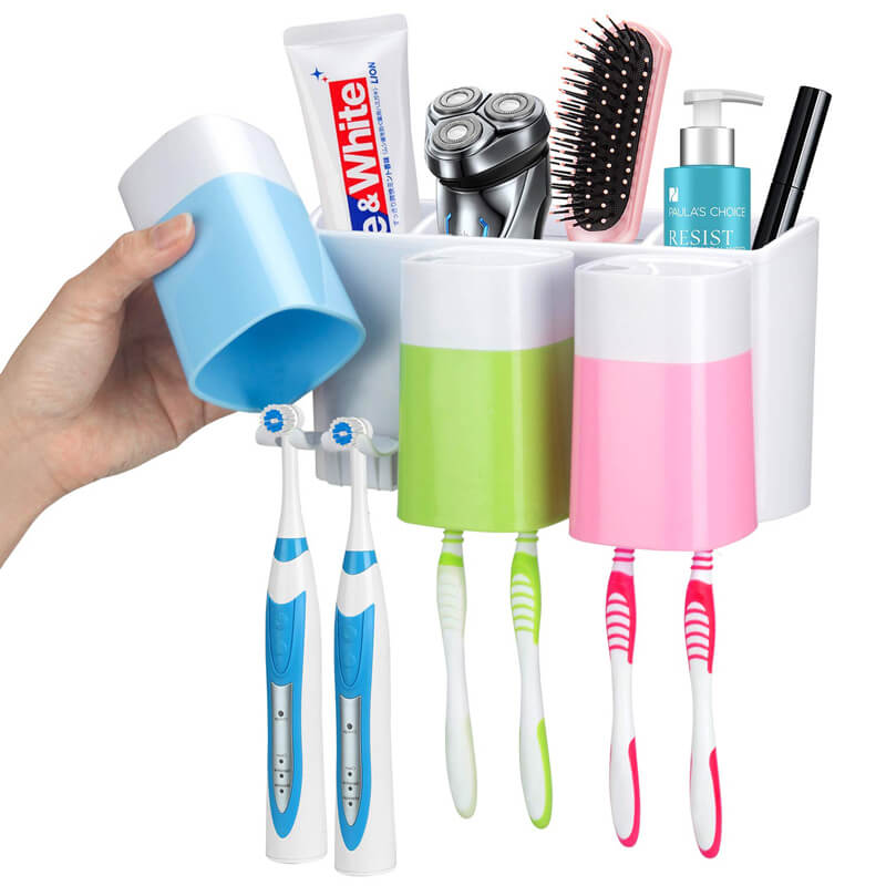 Toothpaste Toothbrush Holder Wall Mount Large Capacity Comestics Comb Shaver Storage Rack Bathroom Organizer Ant dust Fast Drain in Toothbrush Toothpaste Holders from Home Garden