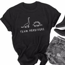 Funny Women Men t shirt white t-shirt tshirts Black tee TEAM HERBIVORE Dinosaur Print T-Shirt Unisex Vegan Tee Cute Tops