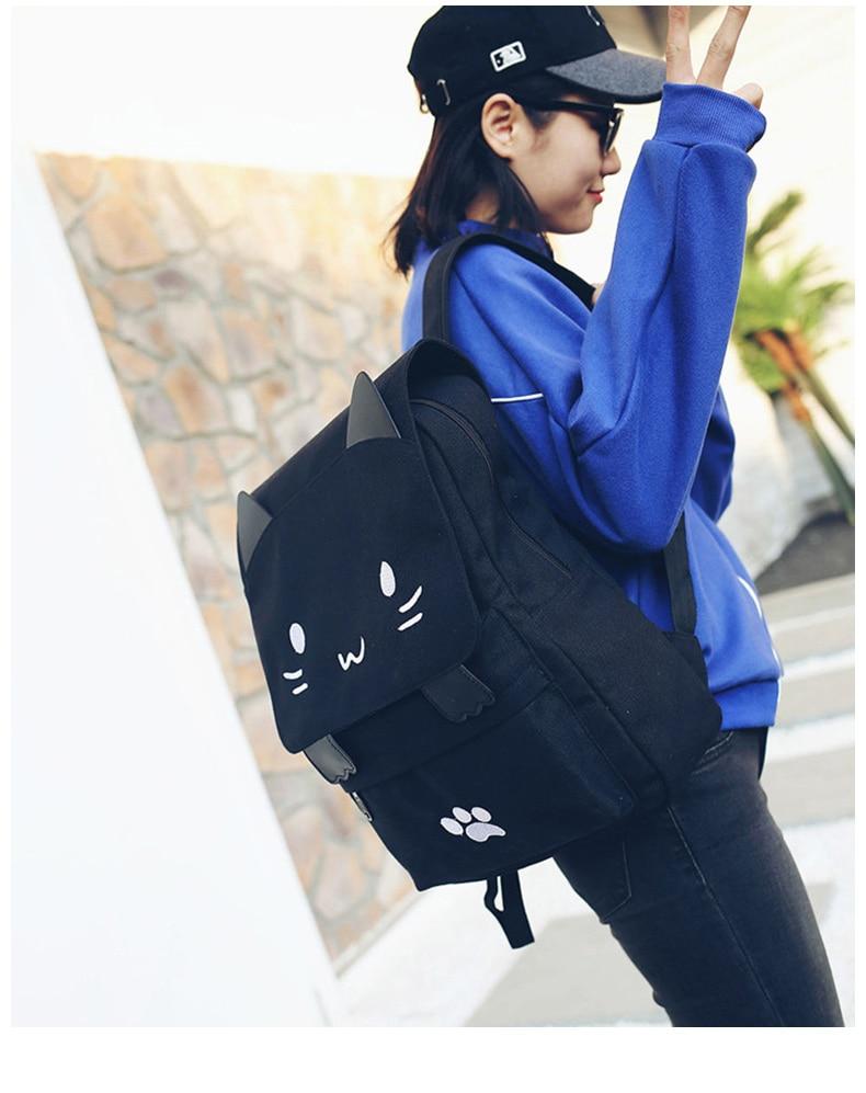 HTB1.Lh8a3KG3KVjSZFLq6yMvXXaT Cute Cat Canvas Backpack Cartoon Embroidery Backpacks For Teenage Girls School Bag Fashio Black Printing Rucksack mochilas XA69H