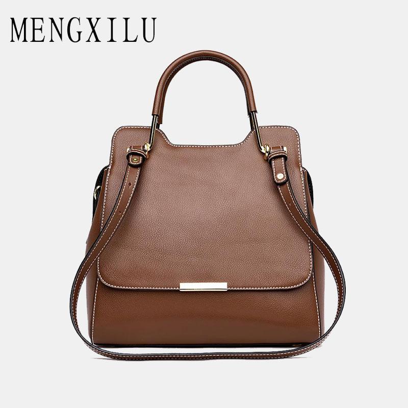 купить MENGXILU Vintage Genuine Leather Bags Handbags Women Famous Brand Designer Patchwork Women Bag Ladies Shoulder Bags Female Sac по цене 3633.13 рублей
