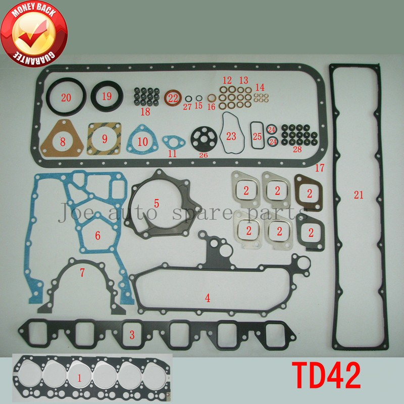 ENGINE : TD42  Engine Full gasket set kit for Nissan Patrol GQ Y60 4.2L 4.2 1988-1997 10101-VB285  51028400  10101VB285