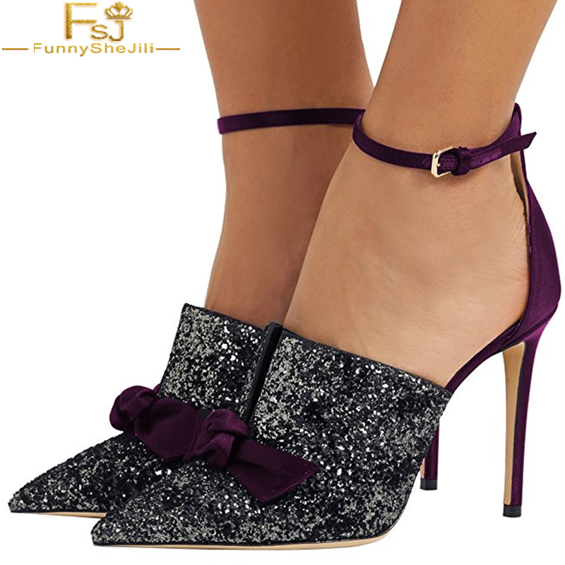 Women Sexy Stiletto High Heel Ankle Strap Mule DOrsay Pointed Toe Pumps Shoes Bows Sequined Cloth Butterfiy Knot Patchwork FSJ