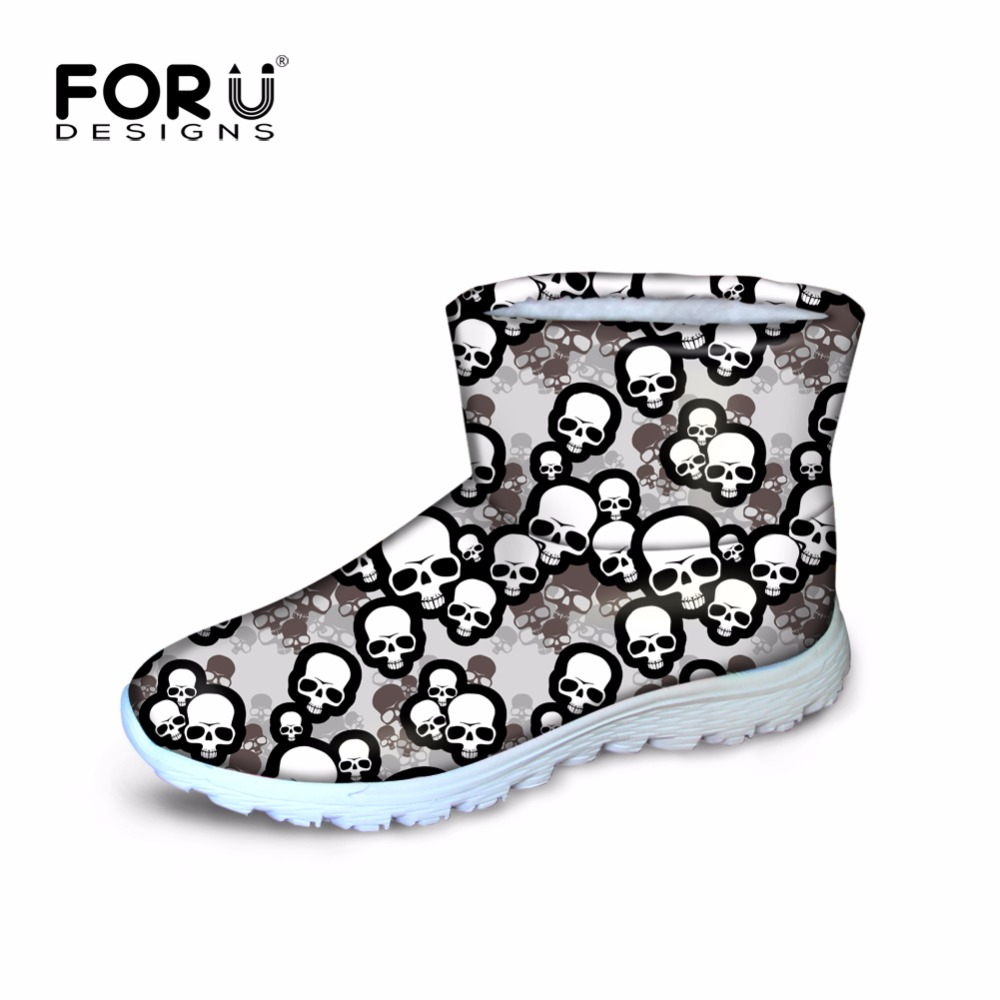 ФОТО FORUDESIGNS Winter Style Women Ankle Snow Boots Warm Snow Shoes Colorful Skull Boots For Woman Zapatos Mujer Ladies Rain Boots