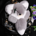 Lovely Fluffy Rex Rabbit Hair Animal Key Chain Cute Big Eyes Raccoon Rabbit Fur Keychain Fashion Women Car Bag Key Ring
