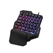 Игровая клавиатура для мобильного телефона, клавиши для записи макросъемки, 35 клавиш, мини usb, одна рука, 6400 dpi, проводная мышь, комбо, 7 цветов, подсветка