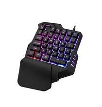 โทรศัพท์มือถือ Gaming Keyboard Macro การบันทึกคีย์ 35 คีย์ Mini USB มือเดียว 6400DPI Combos 7 สี backlight