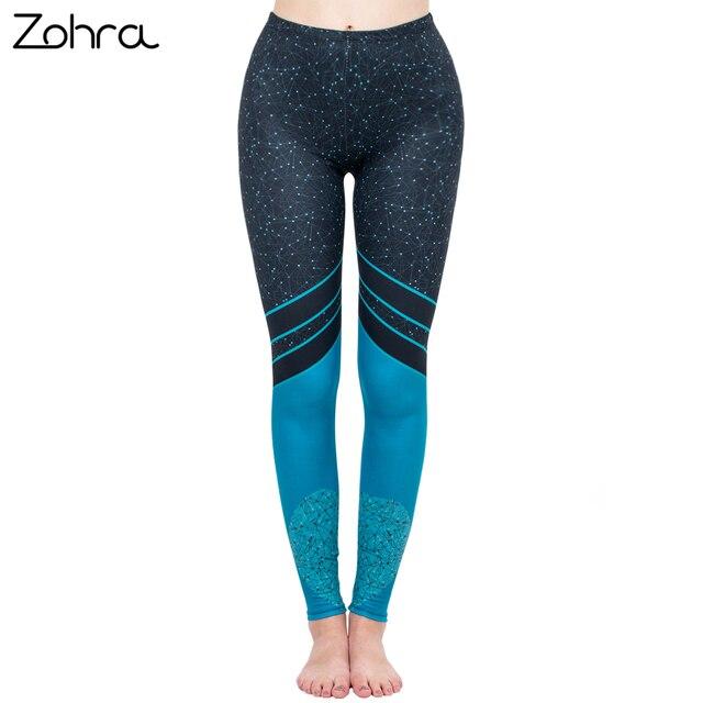 Zohra New Fashion Women Legging Starry Sea Love Printing leggins High Waist Punk Leggings Color Legins Slim Fitness Pants