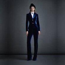 Dark Blue Velvet Womens Business Suits Formal Office Pant Female Work Wear 2 Piece Sets Slim Fit Uniform Designs Blazers